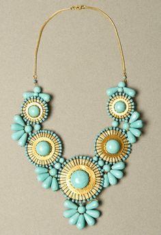 Large SOUTHWESTERN Style TURQUOISE Collar BIB Glass Statement Necklace. $39.99, via Etsy.