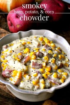 ham potato and corn chowder recipe-Smokey bacon and ham mixed in a decadent herbed chowder with chunky potatoes and sweet, juicy corn.Don& be surprised if you& licking the bottom of the bowl after trying this smokey ham, potato, and corn chowder! Crock Pot Recipes, Cooking Recipes, Ham Left Over Recipes, Ham Slices Recipes, Recipes Using Ham, Hearty Soup Recipes, Top Recipes, Meat Recipes, Healthy Recipes