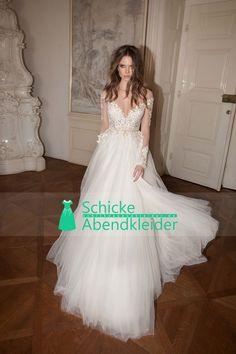 2016 Voll Sleeves Brautkleider A-Linie Scoop Tulle mit Applikationen und Perlen