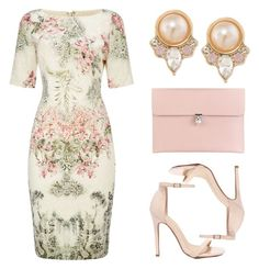 """Untitled #125 (Top Set 3/30/16)"" by ctpyp ❤ liked on Polyvore featuring Adrianna Papell, Liliana, Alexander McQueen, Carolee, florals and pearlearrings"