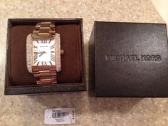 Michael Kors Emery Gold Tone Stainless Steel Square Face Watch MK3254 #MichaelKors #DressFashion