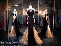 Negro desnuda Vestido de noche-Jersey de alta cuentas escote-Illusion moldeados Back-Illusion recortes-115RA069770 en Rsvp baile y desfile, Atlanta, GA