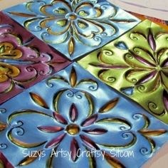GASP - faux tin tiles made from disposable cookie sheets from the dollar store.be still my heart. Craft and DIY Projects and Tutorials Diy Projects To Try, Crafts To Make, Fun Crafts, Craft Projects, Arts And Crafts, Project Ideas, Pop Can Crafts, Craft Ideas, Diy Projects Using Tin Cans