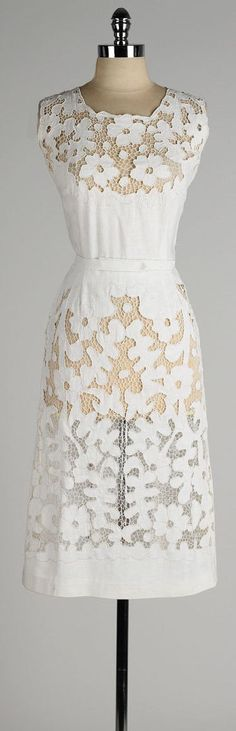 vintage 1950s dress . linen wiggle . floral by millstreetvintage