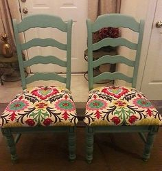 Set of 2 Custom Reupholstered, High Back Tuscan Country Dining Room Side Chairs