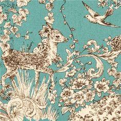 teal Koka flower deer forest animal oxford fabric