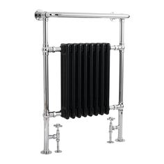 Buy Hudson Reed Marquis Radiator Heated Towel Rail H x W Chrome/Black today. Hudson Reed Part No: Free UK delivery in approx 4 working days. Black Towel Rail, Black Towels, Vertical Radiators, Column Radiators, Bathroom Radiators, Bathroom Taps, Bathroom Ideas, Bathroom Designs, Bathroom Storage