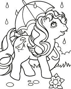 kleurplaat My little pony - Pony in de regen