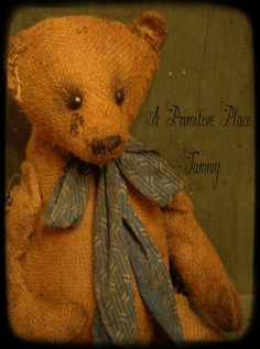 BooBoo Bear  Handmade OOAK Primitive Burlap by aprimitiveplace, available for adoption at Etsy. SOLD