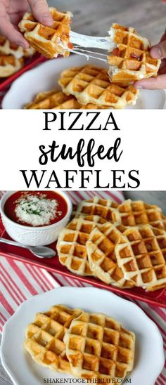Pizza Stuffed Waffles - Waffle Maker - Ideas of Waffle Maker - Pizza Stuffed Waffles! Dinner doesn't get easier than this 4 ingredients refrigerator biscuits and a waffle maker! This simply delicious dinner of pizza waffles is done in about 10 minutes! Mini Waffle Recipe, Waffle Maker Recipes, Stuffed Waffle Recipe, Waffle Pizza, Biscuit Pizza, Pizza Biscuits, Stuffed Biscuits, Waffle Toppings, Deep Dish