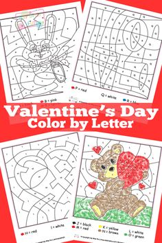 Valentine's Day Color by Letters Worksheets