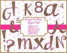 Leopard Print Alphabet Clip Art Set INSTANT DOWNLOAD
