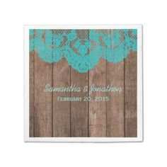 Rustic Teal Lace and Wood Wedding Napkin