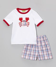 Loving this Red Crab Ringer Tee & Plaid Shorts - Infant, Toddler & Boys on #zulily! #zulilyfinds