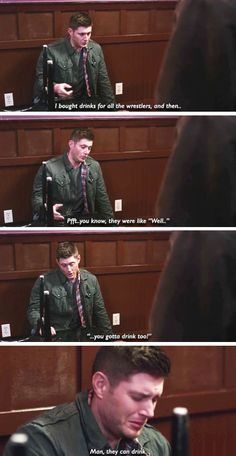 11x15 Beyond The Mat [gifset] - Man, they can drink - hungover Dean Winchester; Supernatural