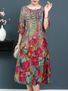 US 27.59 62% OFF  Plus Size Elegant Art Print Loose Dress For Women  Women s Clothing from Clothing and Apparel on banggood.com a411f9e63