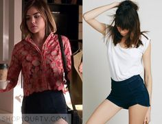 Aria Montgomery (Lucy Hale) wears these short denim shorts in this episode of Pretty Little Liars. They are the Free People Denim [...]