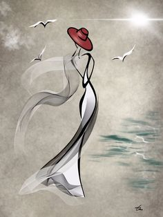 Lady by the Sea - 24\ x 36\
