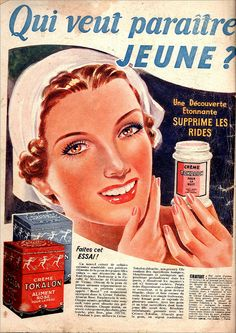 A French ad from 1939 for Tokalon cream. #vintage #beauty #ads #1930s