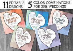 Wedding Watercolor Invitation  5 Variations