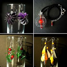 Jewelry made from recycled plastics and other containers. Might have to play around with this idea