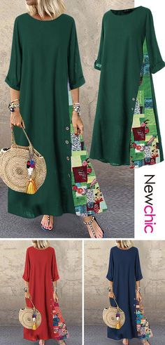 Dresses - Shop Today Print Patchwok Long Sleeve Dress For You! Mode Outfits, Casual Outfits, Belted Shirt Dress, Fashion Sewing, Sewing Clothes, Elegant Dresses, Dress For You, Boho Dress, Dress Patterns