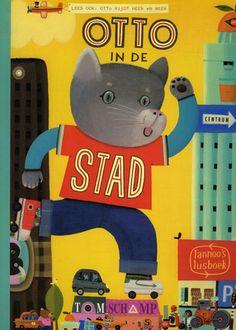 De kat Otto mag met zijn vader mee naar de stad. Hardkartonnen prentenboek met collageachtige illustraties, dat ook omgekeerd gelezen kan worden. Vanaf ca. 5 jaar.