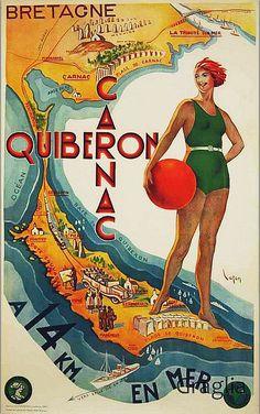 old poster -ad for Quiberon, France Tourism Poster, Poster Ads, Advertising Poster, Poster Prints, Travel Ads, Travel Images, Vintage Advertisements, Vintage Ads, Old Posters