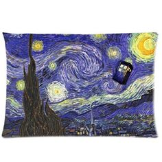 Tardis Doctor Who Starry Night Custom Zippered Pillow Case   Material: 50% cotton 50% polyester  Minimum Quantity: 1  This custom standard pillowcase is roomy in size (20'' x 30'') and has been designed to add sophistication and style to your bedroom.  It's a zippered pillow case with a zippered opening on the side.  With pre-shrunk fabric this pillowcase is washable at 60æ. 50% cotton 50% polyester. Having this soft custom pillowcase will add both comfort and style to your home.  Ok…