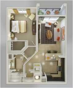 20 one-bedroom apartment plans for singles and couples - . - 20 one-bedroom apartment plans for singles and couples – # Apartment plans - Tiny Spaces, Small Apartments, Small Apartment Plans, Small Apartment Layout, 1 Bedroom Apartments, Single Apartment, Garage Apartments, Bedroom Layouts For Small Rooms, Garage Apartment Interior