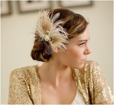 Bridal feather hair piece vintage veil peacock feather by LoBoheme