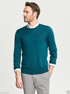 Banana Republic Teal Luxury Blend Silk Cashmere Cotton Blend Crewneck Sweater L #BananaRepublic #Crewneck