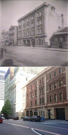 Sydney City Fire Station, Castlereagh Street in c1890 and in 2015. [circa 1890-State Library NSW>2015-Phil Harvey. By Phil Harvey]