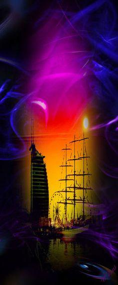 'Sonnenuntergang Bremerhaven' von Walter Zettl bei artflakes.com als Poster oder Kunstdruck $22.17