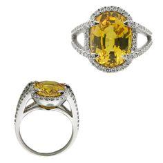 14kt White Gold Yellow Sapphire Diamond Ring- E.B. Horn Jewelers