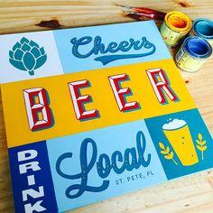 Hand painted sign. Handlettered with One Shot lettering enamel over wood. Custom commission  #handlettering #lettering #signpainter #signpainting #beer #drinklocal #leogomezstudio