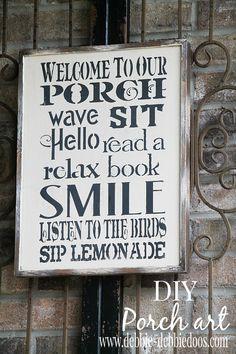 Welcoming  DIY porch sign