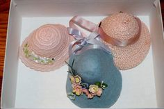 "1950'S NANCY ANN 8"" MUFFIE DOLL HATS - 3 HATS, FACTORY ORIGINAL, VINTAGE #NancyAnn #8MUFFIEDOLLHATS"