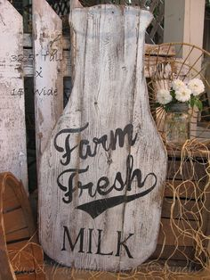 Milk Bottle Wood Sign Farmhouse Style Farm by SweetMagnoliasFarm