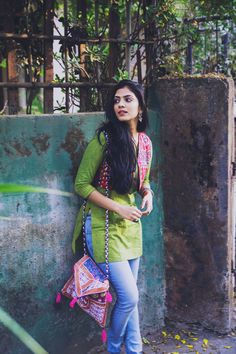 (Link in bio) college wear, college outfits, college fashion, indian outfit Casual Indian Fashion, Indian Fashion Dresses, Dress Indian Style, Indian Designer Outfits, Indian Outfits, Western Outfits, Style Fashion, High Fashion, Simple Kurti Designs