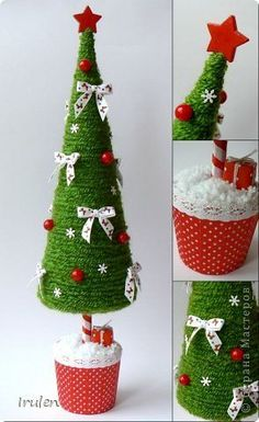 Christmas Holiday paper mache Cone Yarn Trees with berry, holly, frosted branch garland, tabletop holiday deco Easy Christmas Decorations, Cone Christmas Trees, Christmas Crafts For Kids To Make, Christmas Tree Crafts, Burlap Christmas, Christmas Makes, Christmas Centerpieces, Felt Christmas, Simple Christmas