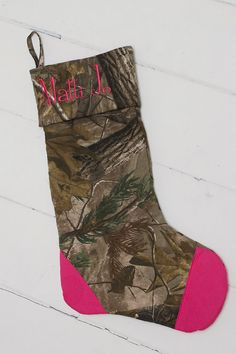 Christmas stocking for the manly man! Burlap and Camo with antlers ...