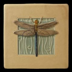 Art tile, Ceramic tile, Dragonfly, wall decor, 4 x 4 inches, deco tile by MedicineBluffStudio on Etsy