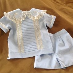 Boy's Overblouse with Shaped Lace Collar and by CatherynCollins - $210.00
