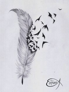 ˚Feather & birds tattoo