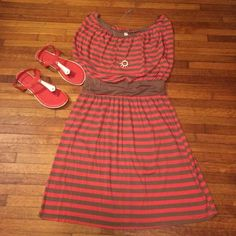 """Selling this """"Coral and tan striped summer dress"""" in my Poshmark closet! My username is: princesssuite1. #shopmycloset #poshmark #fashion #shopping #style #forsale #Boutique #Dresses & Skirts"""
