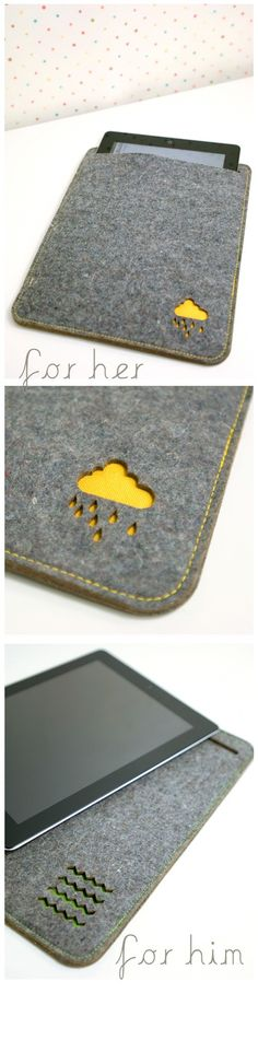 ipad sleeve with laser cut design overlaid on bright color