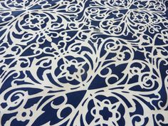 Blue Marine fretwork natural linen fabric from http://www.thea-sami.com.au.