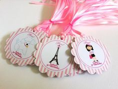 #Paris #Favor #Tags for #Birthday, #Baby or #Bridal Shower, or #Wedding