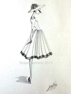 Fashion Illustration 1950s Spring Summer Dress by LinearFashions, $42.00| Be inspirational ❥|Mz. Manerz: Being well dressed is a beautiful form of confidence, happiness & politeness